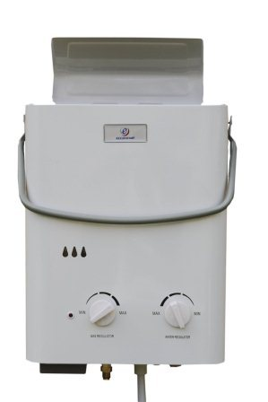 eccotemp l5 portable water heater is used for hot shower at the campsite, cottages, at the pool, beach...
